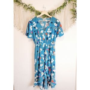 J.CREW Blue Floral Wrap Midi Ruffle Dress sz XS